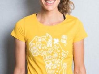 """#cairo2cape Shirt """"Tierwelt"""" gelb"""